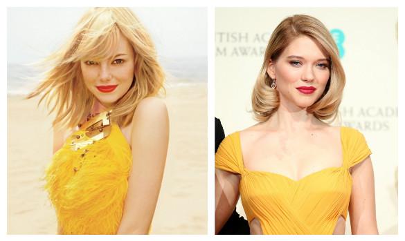 макияж под желтое платье для блондинок