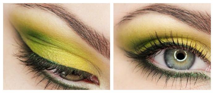 макияж в желто-зеленых тонах
