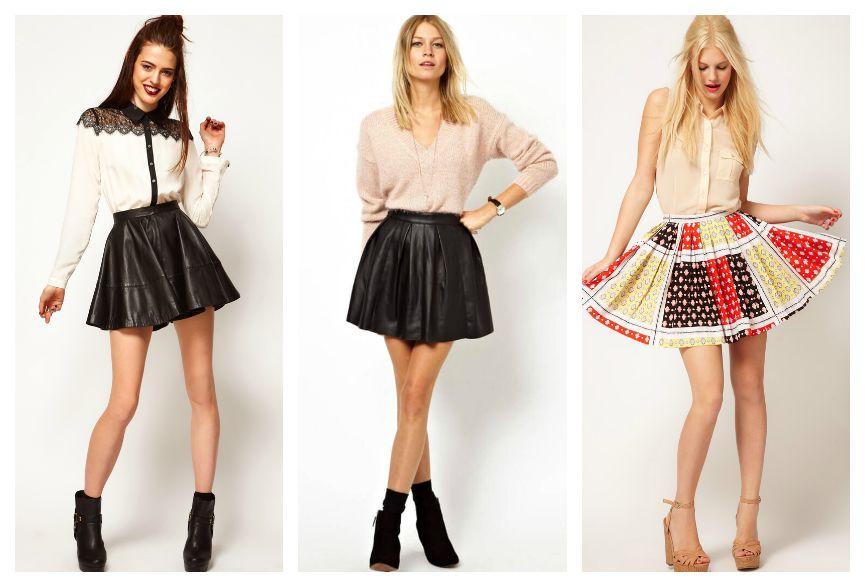 короткие расклешенные юбки мода